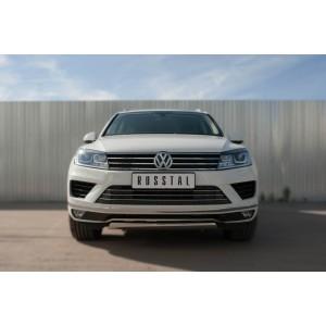 Руссталь VWTZ-002126 защита переднего бампера d75х42 (дуга) короткая на Volkswagen Touareg 2014-