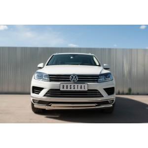 Руссталь VWTZ-002127 защита переднего бампера d75х42 (дуга) d75х42 (дуга) на Volkswagen Touareg 2014-