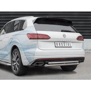 Руссталь VWTZ-003069 защита заднего бампера d63 дуга-d42 дуга на Volkswagen Touareg 2018-