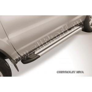 "Slitkoff AL-CHNB004 пороги алюминиевые ""Luxe Silver"" серебристые Chevrolet Niva (Bertone)"