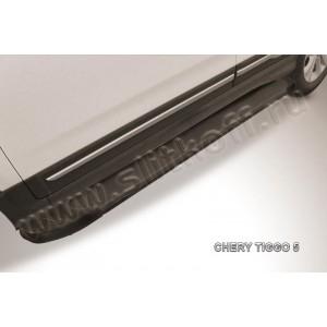 "Slitkoff AL-CT5-001 пороги алюминиевые ""Optima Black"" Chery Tiggo 5"