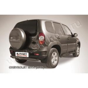 Slitkoff CHN10-009B защита заднего бампера d76 радиусная черная Chevrolet Niva (2010)