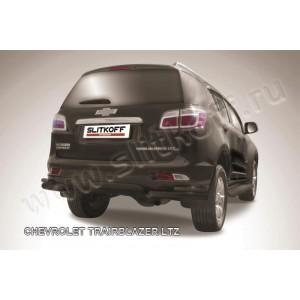 Slitkoff CHTB12-014B защита заднего бампера уголки d76+ d42 двойные черные Chevrolet Trailblazer (2012)