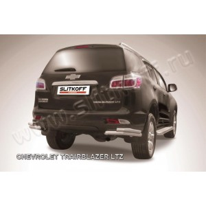 Slitkoff CHTB12-016 защита заднего бампера уголки d57+ d42 двойные Chevrolet Trailblazer (2012)