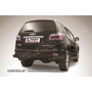 Slitkoff CHTB12-016B защита заднего бампера уголки d57+ d42 двойные черные Chevrolet Trailblazer (2012)