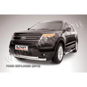 Slitkoff FEX001 защита переднего бампера d76+ d57 двойная Ford Explorer (2012)