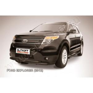 Slitkoff FEX001B защита переднего бампера d76+ d57 двойная черная Ford Explorer (2012)