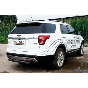 Slitkoff FEX15008B защита заднего бампера d76 черная Ford Explorer (2015)