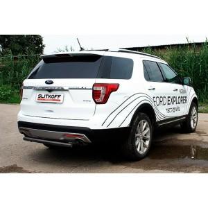 Slitkoff FEX15009B защита заднего бампера d57 черная Ford Explorer (2015)