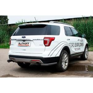 Slitkoff FEX15010B защита заднего бампера уголки d76 черные Ford Explorer (2015)