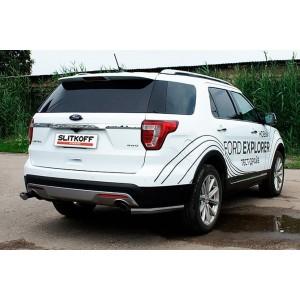 Slitkoff FEX15011B защита заднего бампера уголки d57 черные Ford Explorer (2015)