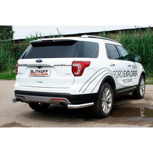 Slitkoff FEX18010 защита заднего бампера уголки d76 Ford Explorer (2018)